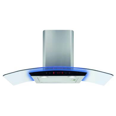 CDA H540xW900xD490 Curved Lit Glass Chimney Hood - Stainless Steel