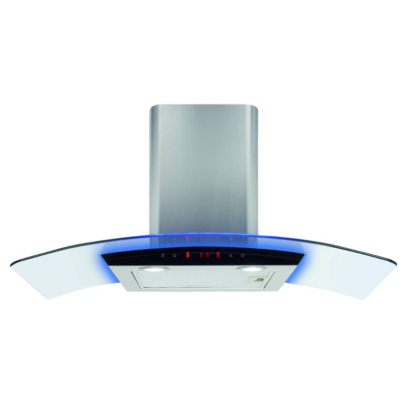 CDA H540xW900xD490 Curved Lit Glass Chimney Hood - Stainless Steel primary image