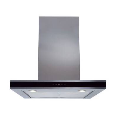 CDA H580xW600xD490 Chimney Cooker Hood - Stainless Steel - Black Trim