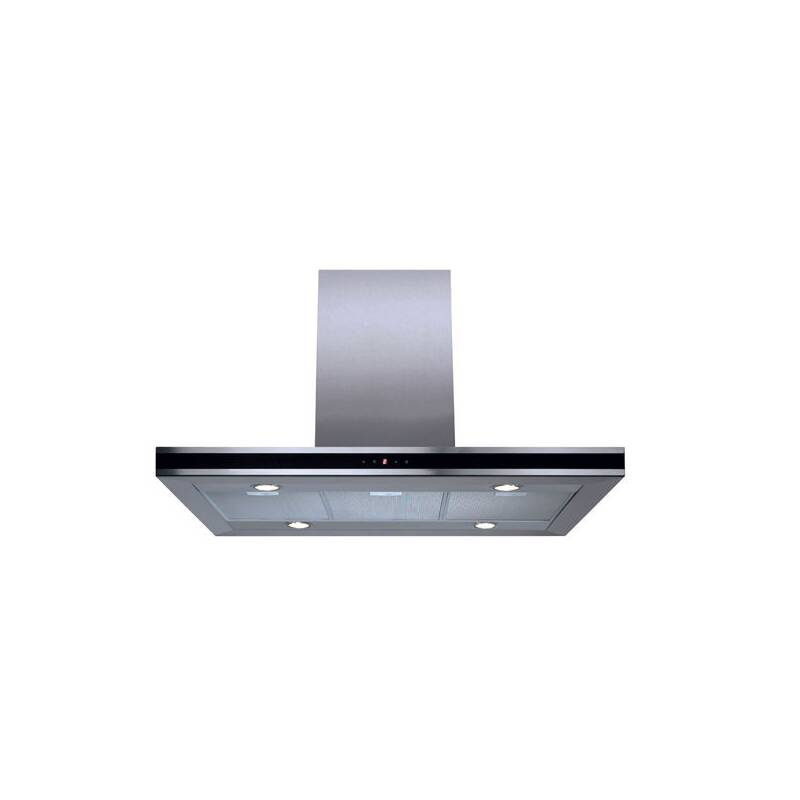 CDA H580xW900xD490 Chimney Cooker Hood - Stainless Steel - Black Trim additional image 1