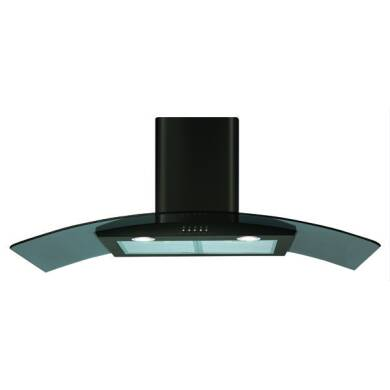 CDA H630xW1000xD500 Curved Glass Chimney Cooker Hood - Black