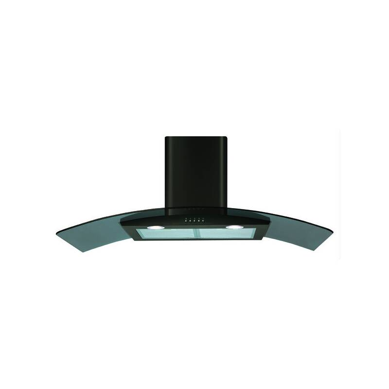 CDA H630xW1000xD500 Curved Glass Chimney Cooker Hood - Black primary image