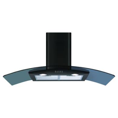 CDA H630xW1100xD500 Curved Glass Chimney Cooker Hood - Black