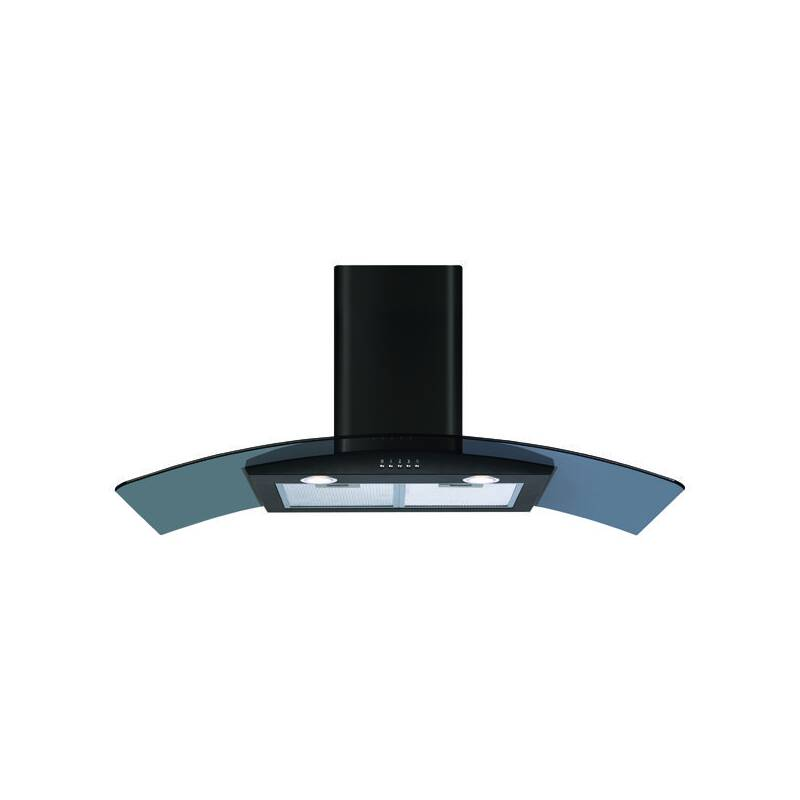 CDA H630xW1100xD500 Curved Glass Chimney Cooker Hood - Black primary image