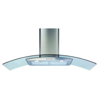 CDA H630xW1100xD500 Curved Glass Chimney Cooker Hood - Stainless Steel