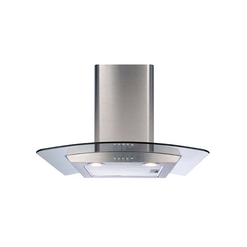 CDA H630xW600xD500 Curved Glass Chimney Cooker Hood - Stainless Steel primary image