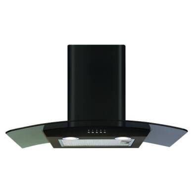 CDA H630xW700xD500 Curved Glass Chimney Cooker Hood - Black