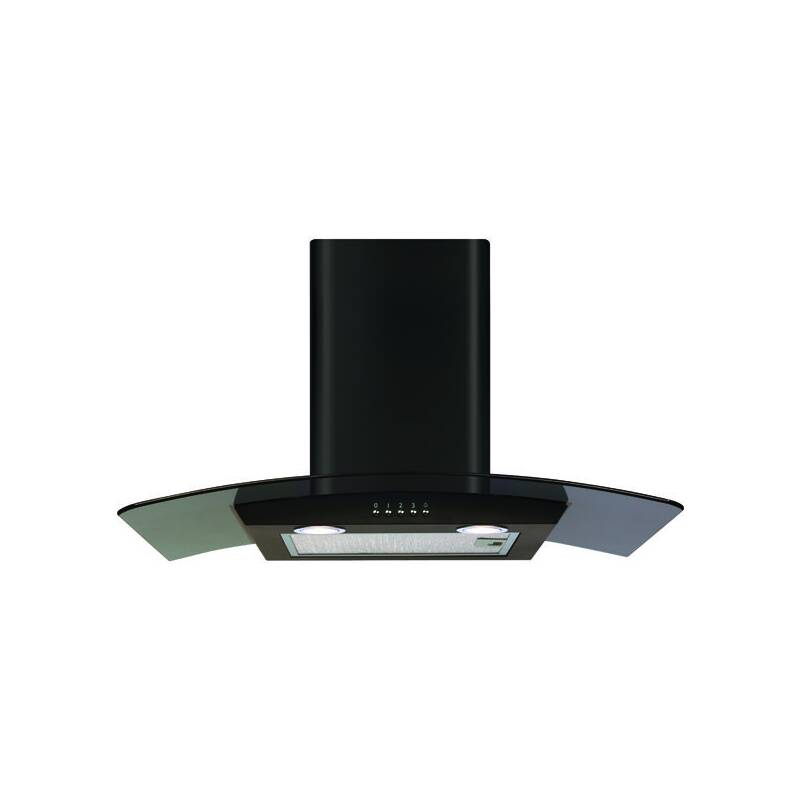 CDA H630xW700xD500 Curved Glass Chimney Cooker Hood - Black primary image