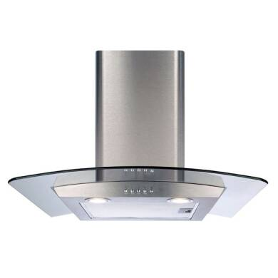 CDA H630xW700xD500 Curved Glass Chimney Cooker Hood - Stainless Steel