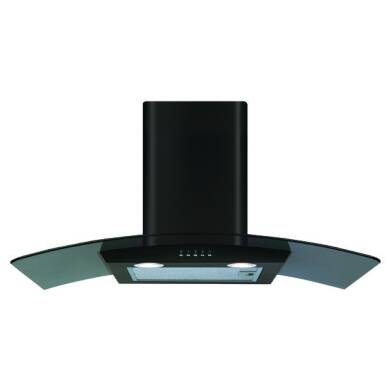 CDA H630xW800xD500 Curved Glass Chimney Cooker Hood - Black
