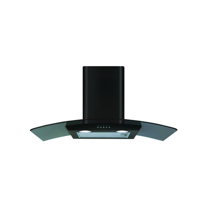 CDA H630xW800xD500 Curved Glass Chimney Cooker Hood - Black primary image