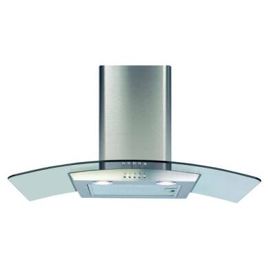CDA H630xW800xD500 Curved Glass Chimney Cooker Hood - Stainless Steel