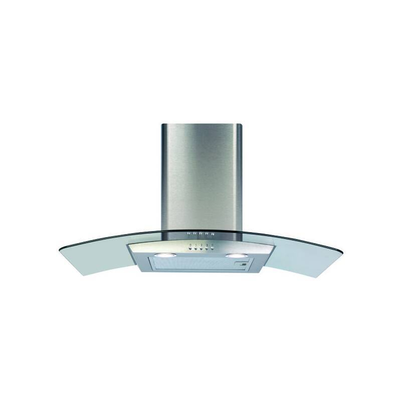CDA H630xW800xD500 Curved Glass Chimney Cooker Hood - Stainless Steel primary image