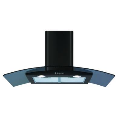 CDA H630xW900xD370 Curved Glass Chimney Cooker Hood - Black