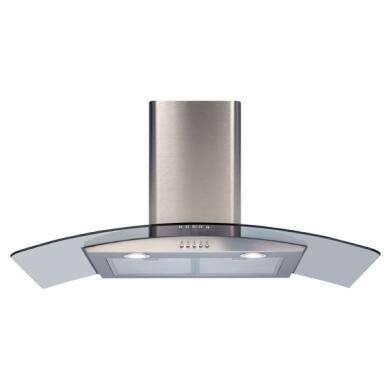 CDA H630xW900xD500 Curved Glass Chimney Cooker Hood