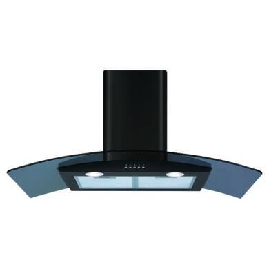 CDA H630xW900xD500 Curved Glass Chimney Cooker Hood - Black