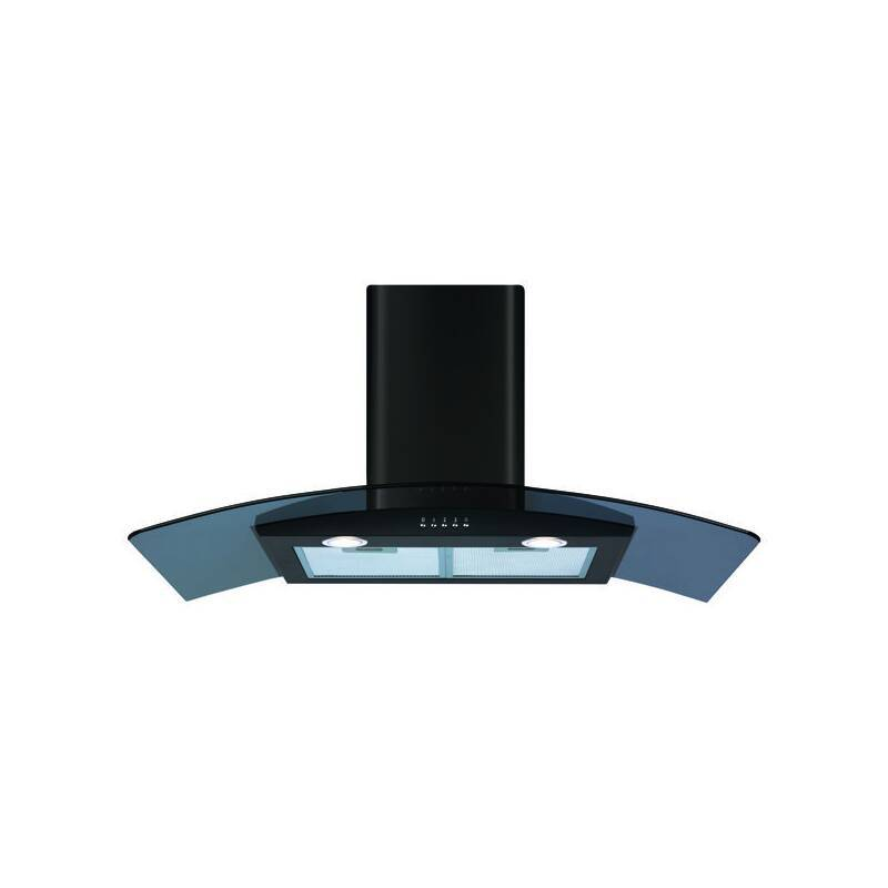 CDA H630xW900xD500 Curved Glass Chimney Cooker Hood - Black primary image