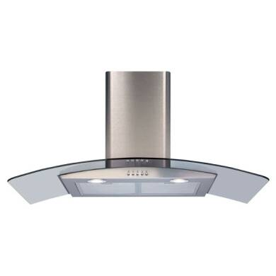 CDA H630xW900xD500 Curved Glass Chimney Cooker Hood - Stainless Steel