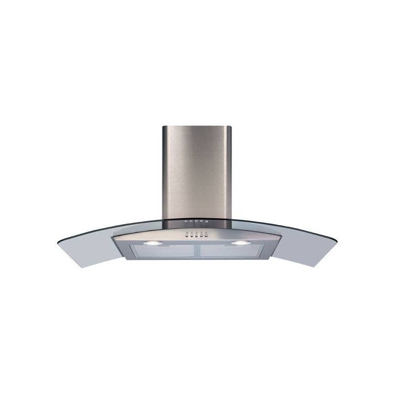 CDA H630xW900xD500 Curved Glass Chimney Cooker Hood - Stainless Steel primary image