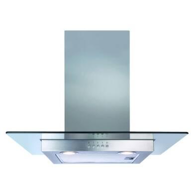 CDA H640xW600xD500 Flat Glass Chimney Cooker Hood - Stainless Steel