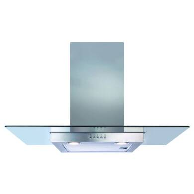 CDA H640xW900xD500 Flat Glass Chimney Cooker Hood - Stainless Steel