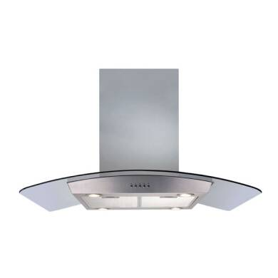 CDA H720xW900xD600 Island Chimney Cooker Hood - Stainless Steel and Curved Glass