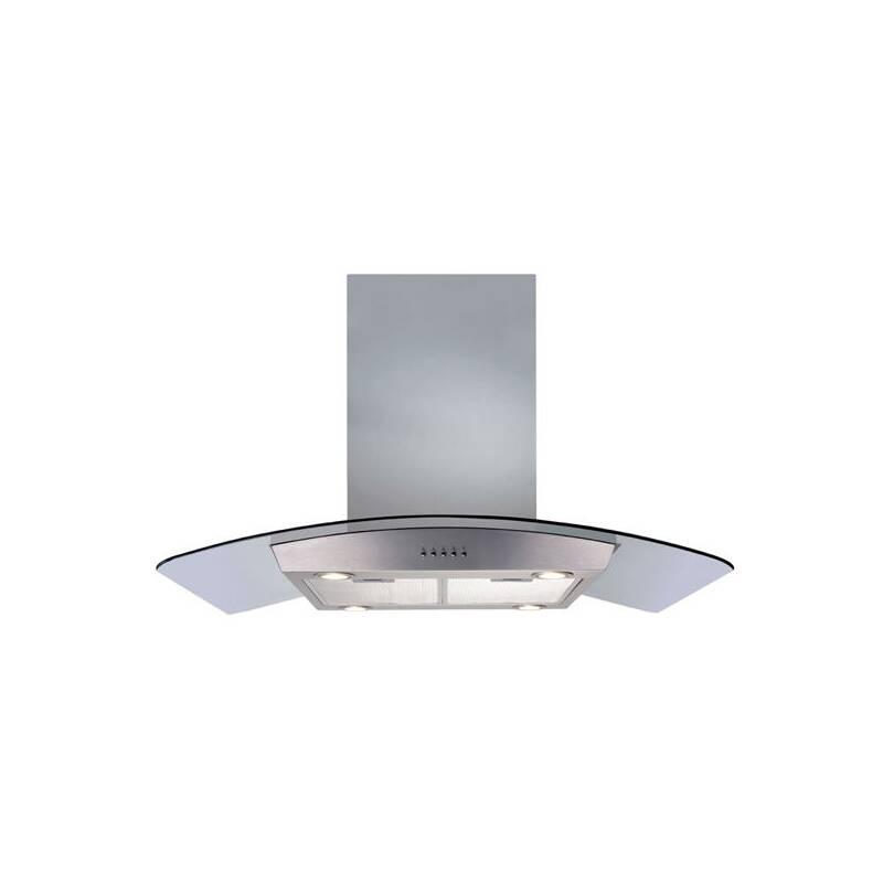 CDA H720xW900xD600 Island Chimney Cooker Hood - Stainless Steel and Curved Glass primary image
