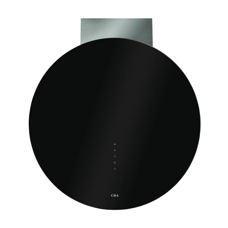 CDA H796xW700xD350 Circular Chimney Cooker Hood - Black Glass primary image