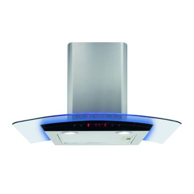 CDA H810xW700xD490 Curved Glass Chimney Hood - Stainless Steel