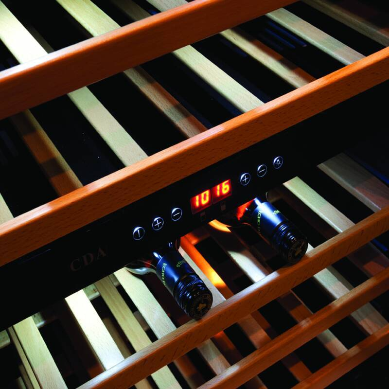 CDA H820-888xW595xD570 Freestanding Double Door Wine Cooler - Black additional image 3