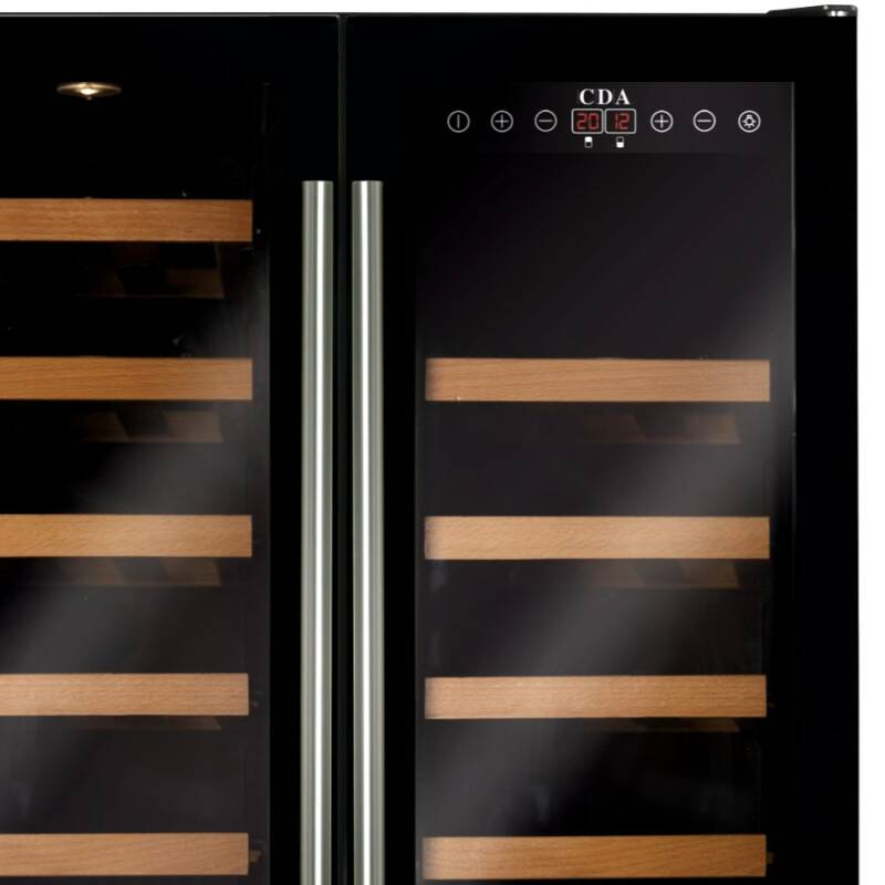 CDA H820-888xW595xD570 Freestanding Double Door Wine Cooler - Black additional image 5