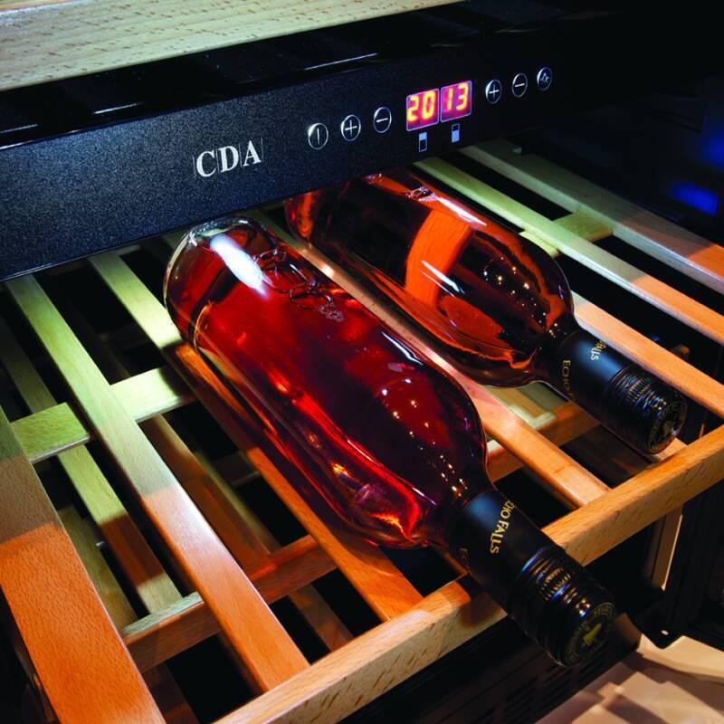 CDA H820-888xW595xD570 Under Counter 2 Door Wine Cooler - Black (2 Zone) additional image 1