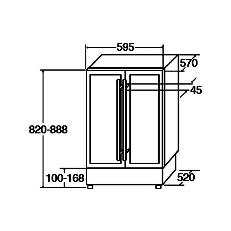 CDA H820-888xW595xD570 Under Counter 2 Door Wine Cooler - Black (2 Zone) additional image 4