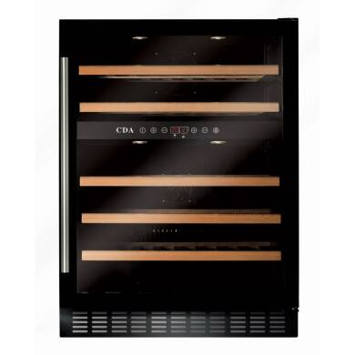 CDA H820-888xW595xD570 Under Counter Wine Cooler - Black (2 Zone)