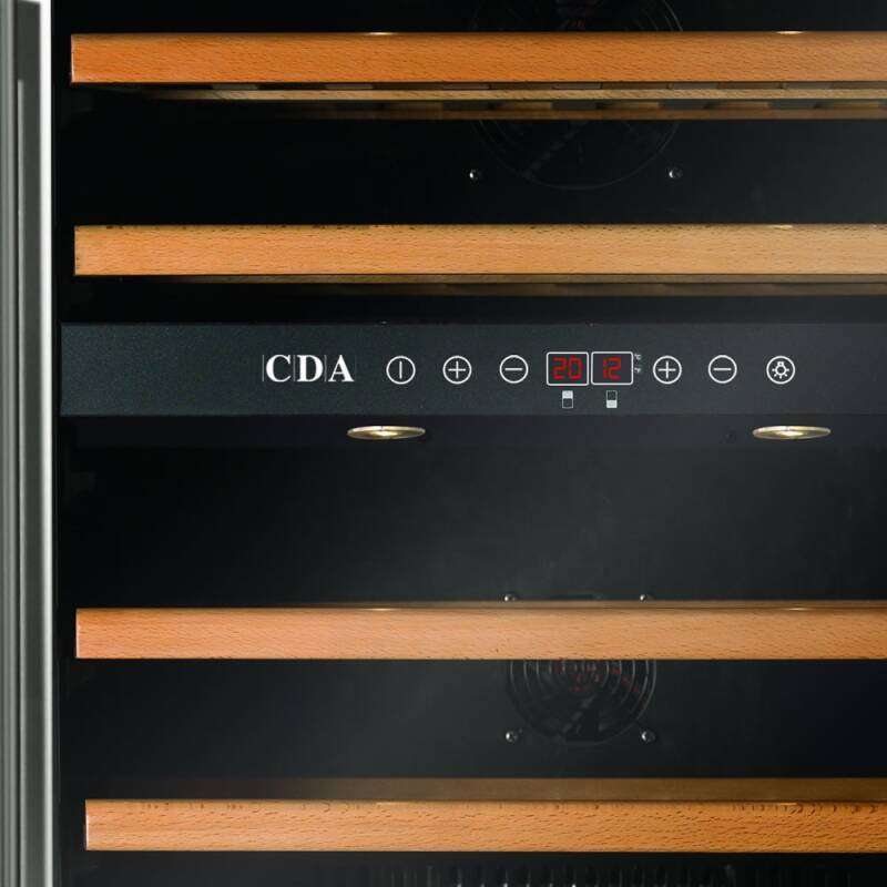 CDA H820-888xW595xD570 Under Counter Wine Cooler - Black (2 Zone) additional image 4