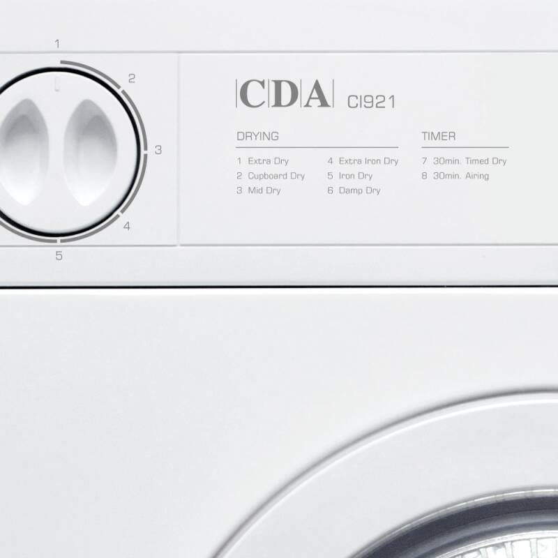 CDA H865xW596xD545 Fully Integrated Vented Dryer (7kg) additional image 2