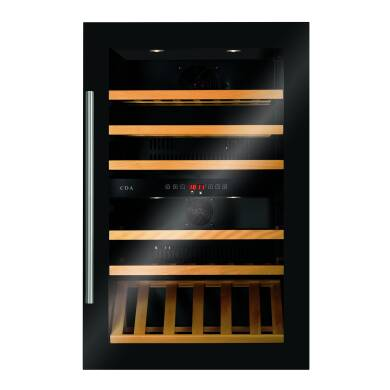 CDA H884xW590xD545 Integrated Dual Zone Wine Cooler - Black