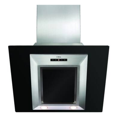 CDA H930xW600xD340 Angled Glass Chimney Cooker Hood - Black