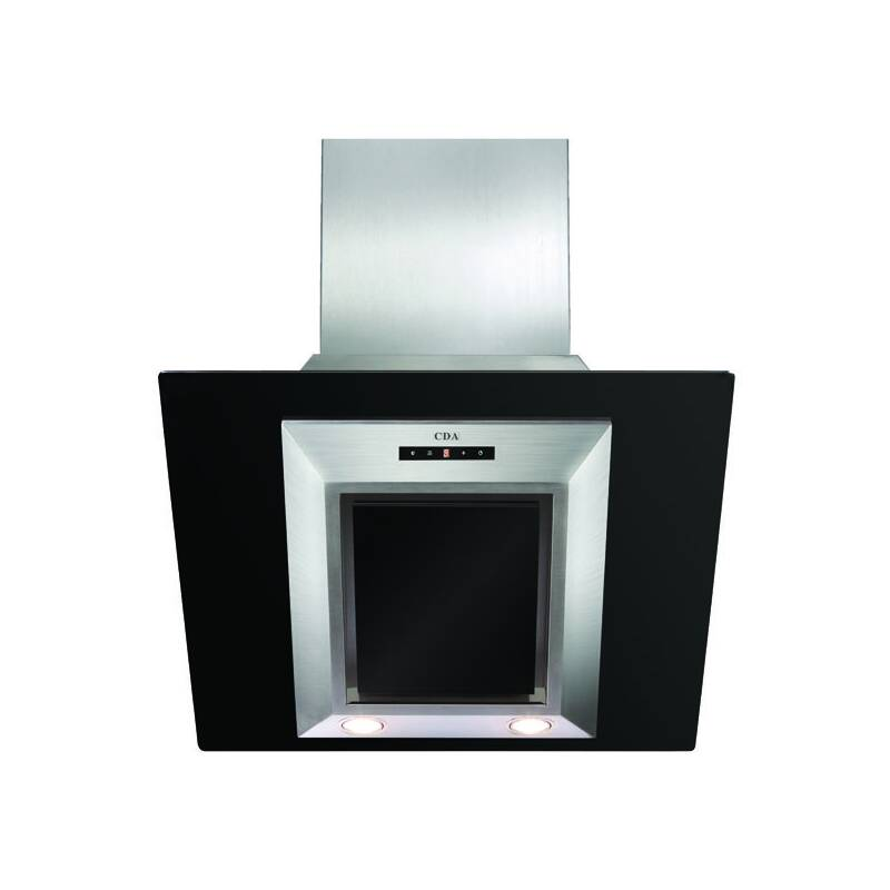 CDA H930xW600xD340 Angled Glass Chimney Cooker Hood - Black primary image