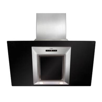 CDA H930xW900xD340 Angled Glass Chimney Cooker Hood - Black