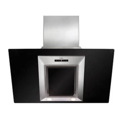 CDA H930xW900xD340 Angled Glass Chimney Cooker Hood - Black