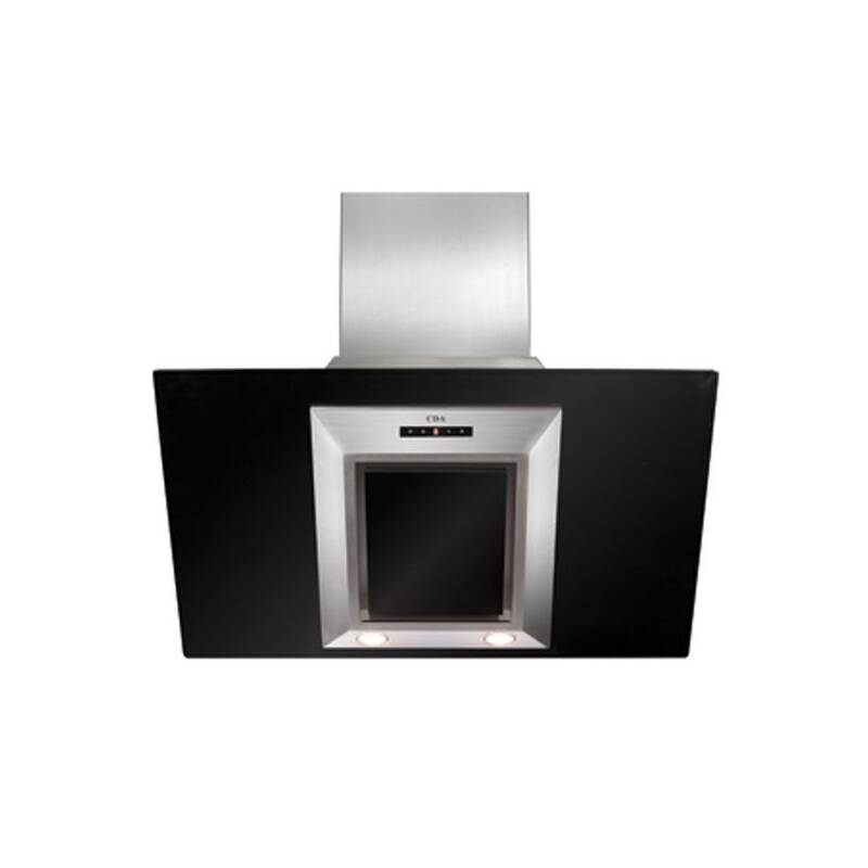 CDA H930xW900xD340 Angled Glass Chimney Cooker Hood - Black primary image