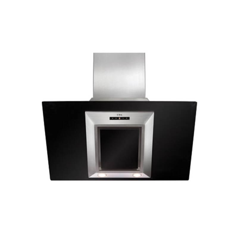 CDA H930xW900xD340 Angled Glass Chimney Cooker Hood - Black primary image