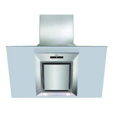 CDA H930xW900xD340 Angled Glass Chimney Cooker Hood - Stainless Steel