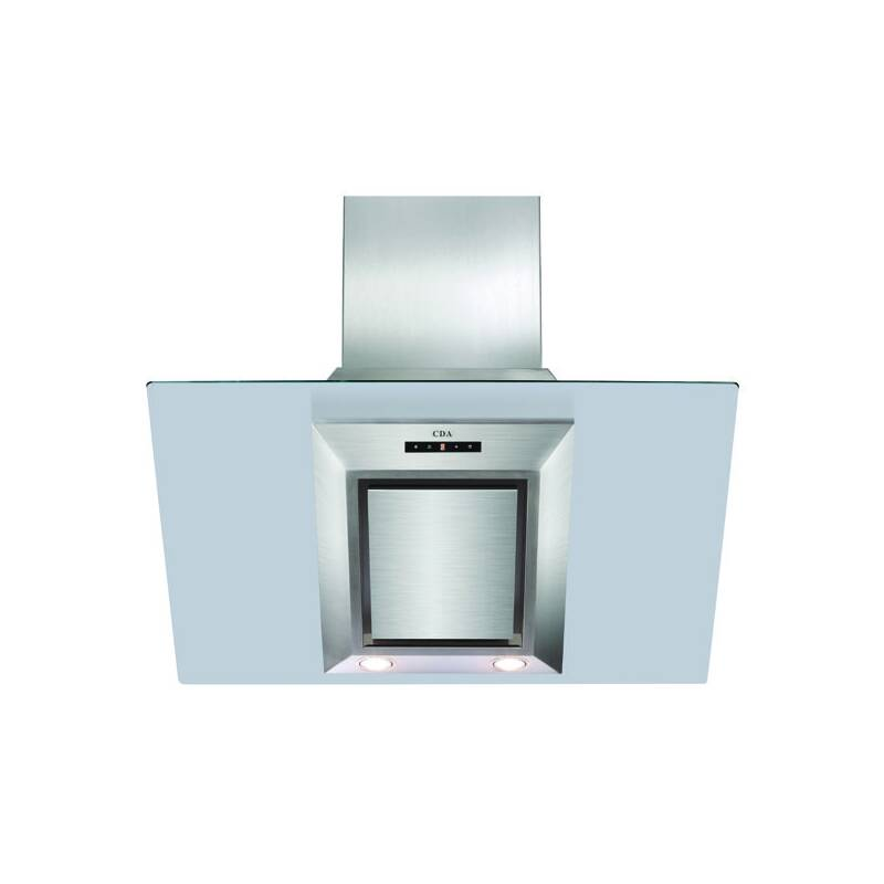 CDA H930xW900xD340 Angled Glass Chimney Cooker Hood - Stainless Steel primary image