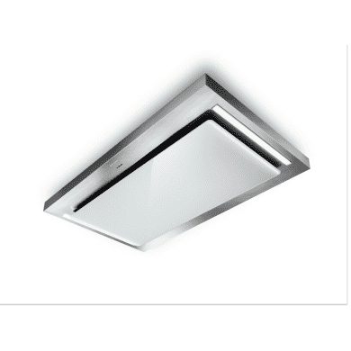 Faber H165xW1200xD700 Skypad Ceiling Hood - Stainless Steel/White Glass