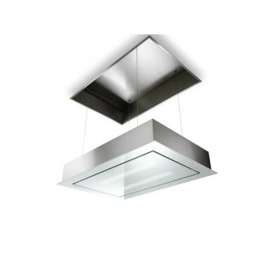 Faber H228xW940xD640 SkyLift Ceiling Hood - Stainless Steel and White Glass