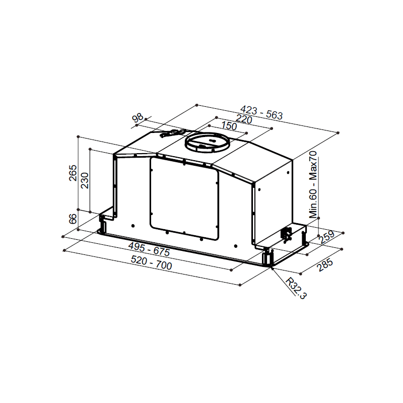 Faber H331xW700xD285 In Light Canopy Hood - Stainless Steel additional image 1