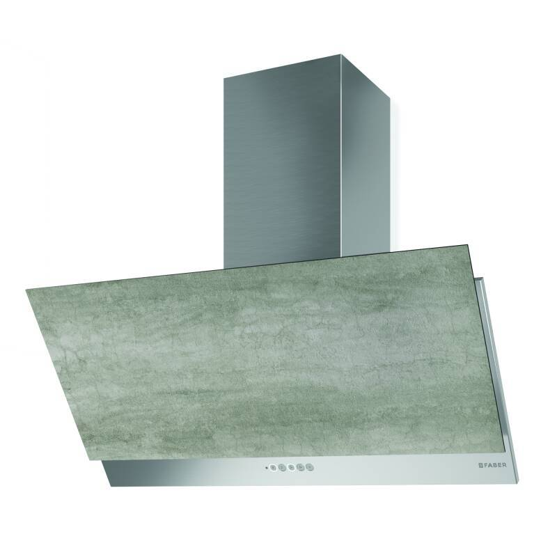 Faber H376xW890xD450 Grexia Wall Mounted Cooker Hood - Light Grey Stone/Stainless Steel primary image