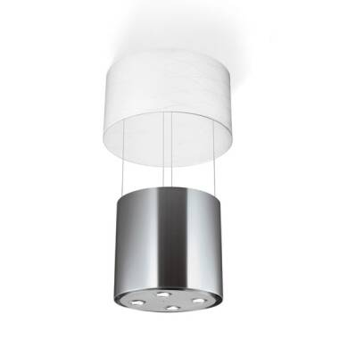 Faber H405xW518xD518 Vanilla Island Hood - Stainless Steel and White Glass